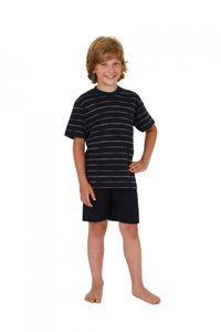 Jungen Kinder Shorty Pyjama kurzarm und mit Streifenoptik 171 505 90 741, Farbe:marine, Größe:128
