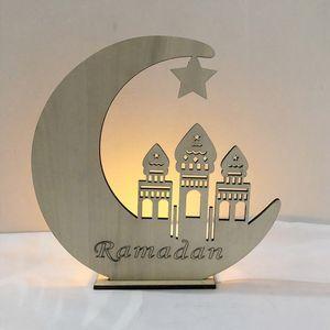 LED Teelicht Kerzen Lampe Romantische Ramadan Holz Eid Mubarak Holiday Decor