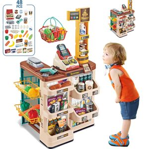 MECO Kinder-Supermarkt-Spielset mit Einkaufskorb und Spiel-Lebensmittel-Zubehör, mit Scanner und Kreditkartenautomat