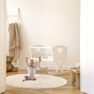 Teppich Wohnzimmer Kinderzimmer Hochflor Shaggy Modern mit Fransen, Farbe:Creme, Größe:120 cm Rund