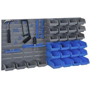 DURHAND Wandregal mit Stapelboxen 44 tlg Werkzeuglochwand Werkzeughalter Werkzeugwand für Werkstatt Sichtlagerkästen Hakenset PP Blau+Grau 63,5x22,5x95,5 cm