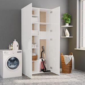 dereoir Lagerschrank Hochglanz-Weiß 80 x 35,5 x 180 cm Spanplatte