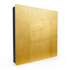 Dekor-Schlüsselkasten, Magnetpinnwand und Memoboard mit Glasfront Motiv Betonstruktur in gold, Türanschlag:Rechts
