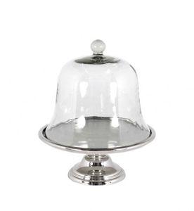 Casa Padrino Luxus Art Deco Kuchenglocke Nickel finish mit Glasdeckel - Kuchen Ständer