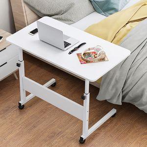 Laptoptisch Betttisch Notebooktisch höhenverstellbar Computertisch Pflegetisch Mit Rollen 80x40cm, Weiß