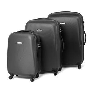 MasterGear ABS-Hartschalenkoffer-Set Größen S, M, L, 3er-Kofferset, schwarz