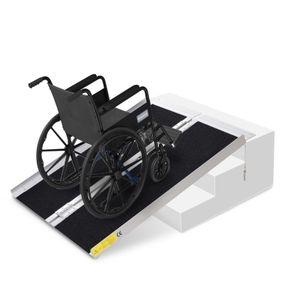 HOMCOM Rollstuhlrampe faltbar silber, schwarz 93 x 76 x 5 cm | Rollstuhlrampe Auffahrrampe für Rollstühle und Rollatoren Rampe