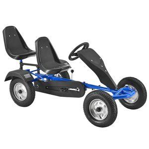 ArtSport 2-Sitzer Gokart mit Schalensitz, Luftreifen, Stahl-Felgen & Freilauf – Tretauto Kinderfahrzeug – Kinder Spielzeug ab 8 Jahre - blau