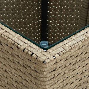 Chunhe Beistelltisch Beige 41,5x41,5x44 cm Poly Rattan und Hartglas