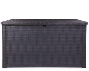 Ondis24 Rumba Kissenbox XXL Auflagenbox anthrazit 870 Liter Rattan Optik mit Gasdruckfedern ca. 146 x 82 x 86 (H) cm