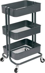 WOLTU Küchenwagen Rollwagen mit 3 Etagen aus Metall grau