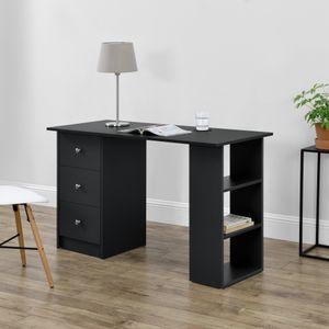 Schreibtisch 120x50x72cm Bürotisch mit Schubladen Schwarz Ablage Regal PC Tisch [en.casa]