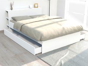 Bett mit Stauraum EUGENE - 160x200cm - Weiß