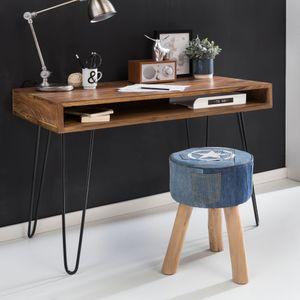 WOHNLING Schreibtisch BAGLI braun 110 x 60 x 76 cm Massiv Holz Laptoptisch Sheesham Natur | Landhaus-Stil Arbeitstisch mit 1 Ablage-fach | Bürotisch PC-Tisch