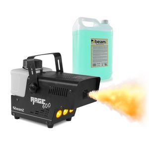 beamZ Rage 600LED Nebelmaschine , 600 Watt , Ausstoßvolumen: 65 m³ pro Minute , Tankvolumen: 0,5 Liter , Aufheizzeit: 3 Minuten , Nachheizzeit: 1 Minuten , inkl. 5 Litern Nebelfluid , LED: 3 x bernsteinfarben , Kabelfernbedienung & Fernbedienung , schwarz