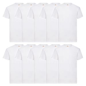 10er Pack Fruit of the Loom Valueweight T-Shirt, (SB10610360), Farbe:weiß, Größe:M