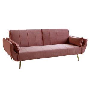 Retro Schlafsofa DIVANI 215cm altrosa Samt goldene Füße Bettfunktion Schlafcouch Schlaffunktion Couch Klappbett