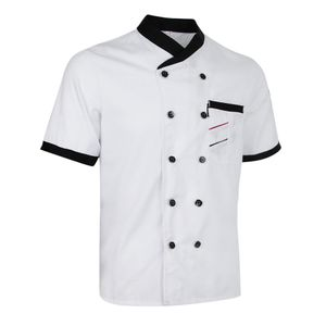 Herren Damen Kochjacke Mantel Uniform Kurzarm Zweireihiger Bäckerjacke Küche Farbe Weiß Größe L
