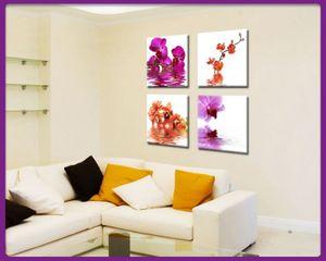 Leinwandbild Set 4 teilig Blumen - Orchideen, Größe:je 30 x 30 cm