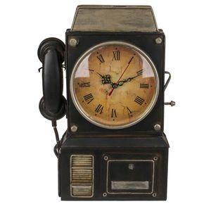 Out of the blue Schlüsselanhänger aus Metall, Telefon mit Uhr, Mehrfarbig, ca. 26 x 35,5 cm