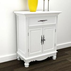Holzschränkchen mit 2 Türen 1 Schublade Weiß