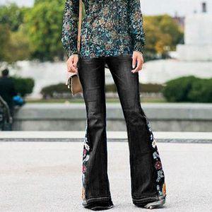 Damen Hohe Taille Stickerei Bell-Bottom Denim Jeans Schlaghose Wide Leg Pants,Farbe:Schwarz,Größe:M