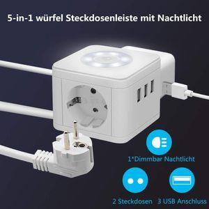 NightyNine Steckdosenleiste Würfel 2 Fach mit USB, Mehrfachsteckdose Überspannungsschutz,Dimmbar Nachttischlampe Steckdose mit Schalter für Büro, Hause und Reisen, 1.5m Kabel Weiß -Baykul