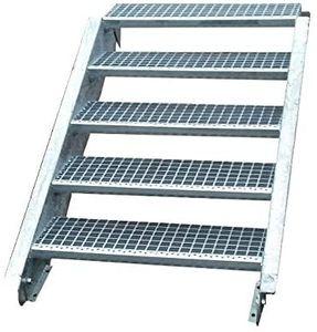 Stahltreppe verzinkt 5 Stufen Geschosshöhe 70-105cm / Stufenmaße 60 cm x 24 cm