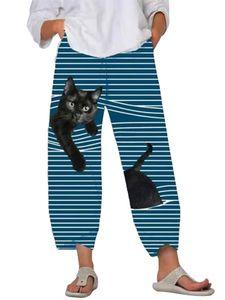 Damen gestreifte bedruckte elastische Taille Haremshose Lose Jogginghose Hose,Farbe: blauer See,Größe:5XL
