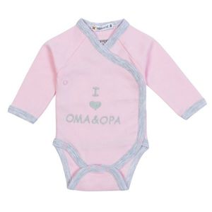 "Milarda Baby Body Wickelbody ""I love Oma & Opa"", rosa-grau, Gr. 50-74 Größe - 62"