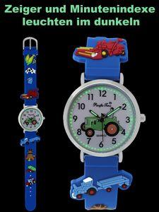 Pacific Time Kinder Armbanduhr für Jungen Trecker Traktor Bauernhof blau 86833