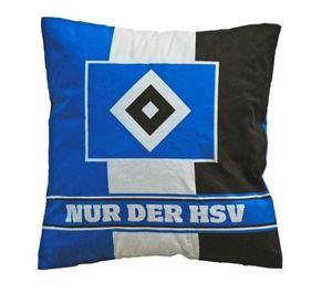 """HSV Kissen """"Nur der HSV"""" 38x38cm, schwarz-weiß-blau"""