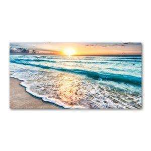 Tulup® Leinwandbild - 140x70 cm - Wandkunst - Drucke auf Leinwand - Leinwanddruck  - Landschaften - Gelb - Sonne Strand