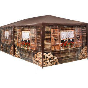 tectake Garten Pavillon 6x3m Almhütte mit 6 Seitenteilen - braun