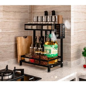 Küchenregal Gewürzregal Küchenarbeitsplatte Organizer Gewürz-Ständer 2 Ebenen 34x21x41.7cm