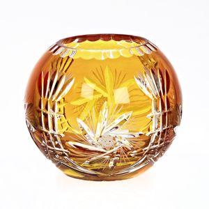 Kugelvase Schleuderstern 16cm, gelb aus Bleikristall