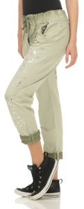 264 Damen Hose lockere Freizeithose Stoffhose elegante Haremshose im glänzenden Blumen Print mit Tunnelzug One Size S M L Oliv