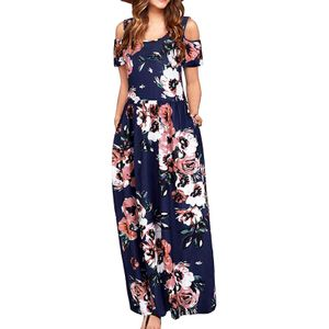 Damen Cold Shoulder Pocket Blumendruck Elegantes Maxi-Kurzarm-Freizeitkleid Größe:XXL,Farbe:Navy