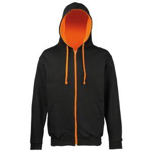 Awdis Herren Sweater Jacke mit Kapuze RW182 (L) (Schwarz/Orange)