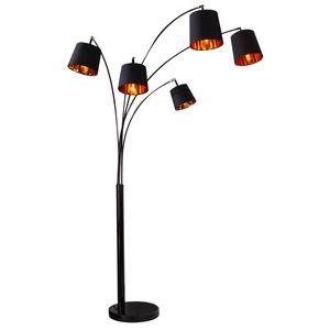 Design Bogenlampe LEVELS 202cm schwarz gold 5 Leinen Schirmen Stehlampe Bogenleuchte Wohnzimmerlampe