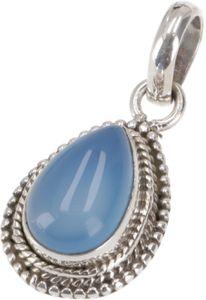 Indischer Ethno Boho Silberanhänger - Kalcedon, SterlingSilber, 2*1*0,7 cm, Anhänger & Amulette aus Silber