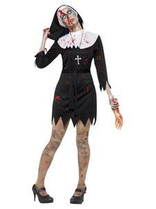 Damen Kostüm Zombie Nonne Zombiekostüm Halloween Gr.L