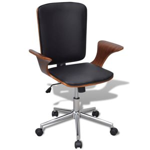 Bürostuhl Schreibtischstuhl Chefsessel Büro-Drehstuhl Bugholz mit Kunstleder-Bezug