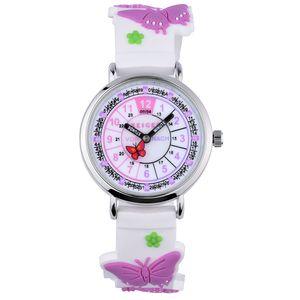 KZKR Kinderuhr Mädchen Jungenuhr Nylon Lernuhr zum Uhrzeit Lesen Quarz Uhr Armbanduhr Analog Sportuhr Lila Butterfly