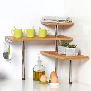 Eckregal für Küche Bambusregal Küchenregal aus Bambus 3 Ebenen und 4 Haken