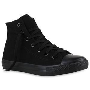 Mytrendshoe Herren Sneaker High Sportschuhe Stoffschuhe Trendfarben 816736, Farbe: Schwarz, Größe: 42