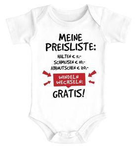 Baby Body mit Spruch lustig meine Preisliste Baumwolle Jungen & Mädchen MoonWorks® weiß 0-3 Monate