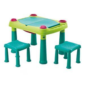 Kindertisch mit 2 Hockern Spieltisch Kreativtisch Maltisch auch für Sand und Wasser Basteltisch
