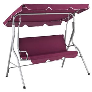 Juskys Hollywoodschaukel 3-Sitzer mit Dach & Sitzauflage – Gartenschaukel 200 kg belastbar – Schaukelbank für Garten & Terrasse - Rot
