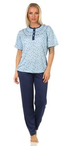 Damen Pyjama zweiteiliger Schlafanzug Pyjama-Set, Blau S